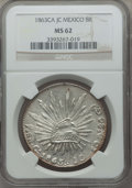 Mexico, Mexico: Republic 8 Reales 1863 Ca-JC MS62 NGC,...