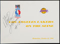 Basketball Collectibles:Others, 1991 Los Angeles Lakers McDonald's Open Basketball Ticket andSigned Magic Johnson Flat....