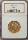 Liberty Eagles: , 1847-O $10 AU55 NGC. NGC Census: (198/116). PCGS Population:(37/24). CDN: $1,370 Whsle. Bid for problem-free NGC/PCGS AU55...
