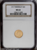 Commemorative Gold: , 1917 G$1 McKinley MS62 NGC. Typically boldly struck with bright,reddish-gold surfaces that show a few minor pinscratches o...