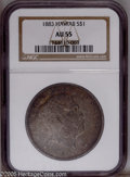 Coins of Hawaii: , 1883 $1 Hawaii Dollar AU55 NGC. This Akahi Dala exhibits original luster beneath the russet-o...