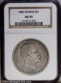 Coins of Hawaii: , 1883 $1 Hawaii Dollar AU55 NGC. Deep, even brown-gray toningblankets each side of this well ...