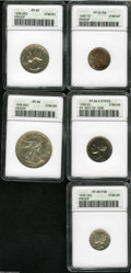 1939 Proof Set PR62 to PR66 ANACS. The set includes: Cent PR62 Red and Brown, considerable carbon buildup on both sides;...