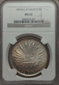 Mexico, Mexico: Republic 8 Reales 1892 Do-JP MS62 NGC,...