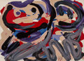 Prints & Multiples, Karel Appel (1921-2006). Happy Battle, 1979. Lithograph in colors. 21-1/2 x 29-1/2 inches (54.6 x 74.9 cm) (sheet). Ed. ...