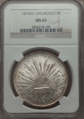 Mexico, Mexico: Republic 8 Reales 1874 Do-CM MS63 NGC,...