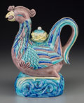 Asian:Chinese, A Chinese Export Porcelain Phoenix-Form Teapot, Qing Dynasty, 19thcentury. 8-3/4 h x 7-1/4 w x 4-7/8 d inches (22.2 x 18.4 ...