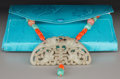 Asian:Chinese, A Chinese Carved Jade, Coral, Agate and Turquoise Necklace. 28-1/2inches (72.4 cm) (total length). 1-7/8 inches high x 3-5/...
