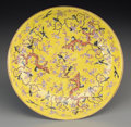 Asian:Chinese, A Chinese Yellow Enameled Porcelain Magpie and Prunus Blossom Dish,Qing Dynasty, Tongzhi Period, circa 1862-187...