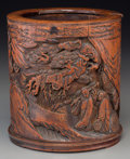 Asian:Chinese, A Fine Chinese Bamboo Brush Pot Depicting Scholars and Pines in aMountainscape, Qing Dynasty, 17th-18th century . 6-1/8 inc...