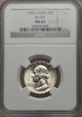 Washington Quarters, 1943-S 25C Doubled Die Obverse, FS-101, MS65 NGC....