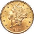 Liberty Double Eagles, 1897-S $20 MS64+ PCGS. CAC....