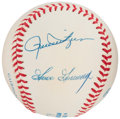 Autographs:Baseballs, Hall of Fame Pitchers Multi-Signed Baseball - Includes Gossage,Fingers, & Eckersley. ...