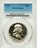 Proof Franklin Half Dollars, 1952 50C PR64 PCGS. PCGS Population: (1058/2280). NGC Census: (594/2564). CDN: $140 Whsle. Bid for problem-free NGC/PCGS PR...