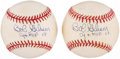 "Autographs:Baseballs, Bob Gibson Single Signed Baseballs Lot of 2 - Includes ""CY + MVP68"" Inscription...."