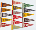 Baseball Collectibles:Others, 1950's American & National League Team Mini Pennants Set(16)....