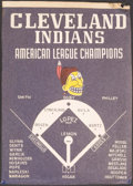 Baseball Collectibles:Others, 1954 Cleveland Indians American League Champions Banner....