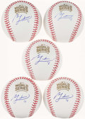 Autographs:Baseballs, Ben Zobrist Single Signed 2016 World Series Baseballs Lot of 5 -World Series MVP. ...