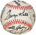 Baseball Collectibles:Balls, Hall of Fame Multi-Signed Baseball (14 Signatures)....