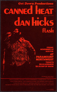 "Canned Heat at the Paramount Northwest Theatre (Get Down Productions, 1973). Concert Window Card (13.5"" X 22"")..."