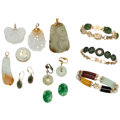 Estate Jewelry:Lots, Jade, Gold, Yellow Metal Jewelry . ... (Total: 11 Items)