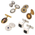 Estate Jewelry:Cufflinks, Multi-Stone, Diamond, Platinum-Topped Gold, Gold, Sterling SilverCuff Links. ... (Total: 7 Items)