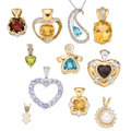 Estate Jewelry:Pendants and Lockets, Diamond, Multi-Stone, Cultured Pearl, Gold Pendants. ... (Total: 11 Items)