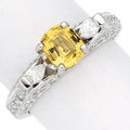 Estate Jewelry:Rings, Yellow Sapphire, Diamond, Platinum Ring. ... (Total: 0 Items)