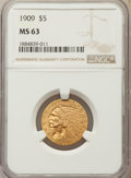 Indian Half Eagles: , 1909 $5 MS63 NGC. NGC Census: (869/455). PCGS Population:(939/545). CDN: $850 Whsle. Bid for problem-free NGC/PCGS MS63.M...