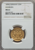 German States:Hamburg, German States: Hamburg. Republic gold 20 Mark 1894-J MS61 NGC,...