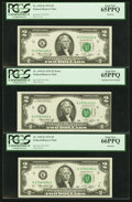 Error Notes:Miscellaneous Errors, Misaligned Face Printing Error Fr. 1935-K $2 1976 Federal Reserve Note with Two Bookends. PCGS Gem New 65PPQ-66PPQ.. ... (Total: 3 notes)