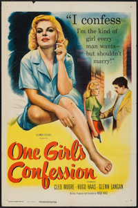 """One Girl's Confession (Columbia, 1953). One Sheet (27"""" X 41""""). Bad Girl"""