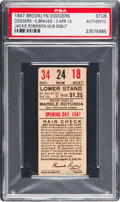 Baseball Collectibles:Tickets, 1947 Ebbets Field Opening Day Ticket Stub--Debut of Jackie Robinson, PSA Authentic....