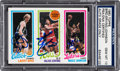 Basketball Cards:Singles (1980-Now), 1980 Topps Bird/Erving/Johnson Signed by Each, PSA/DNA Gem Mint 10....
