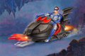 Mainstream Illustration, Morgan Weistling (American, 20th Century). Robin on the SnowMobile, 1997. Gouache on board. 19.5 x 29.5 in. (sight). Si...