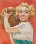 Mainstream Illustration, Mila Baine (American, 20th Century). Sporty, probable magazinecover. Pastel on paper. 22.5 x 18.5 in. (sight). Signed l...