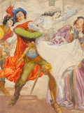 Other, Willy Pogany (Hungarian/American, 1882-1955). Taming of the Shrew, American Weekly interior illustration, 1950. Watercol...