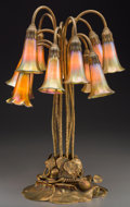 Art Glass:Tiffany , Tiffany Studios Gilt Bronze and Favrile Glass Twelve-LightLily Lamp. Circa 1910. Base stamped TIFFANY STUDIOS, ...