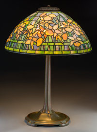Tiffany Studios Favrile Glass and Bronze Daffodil Table Lamp On Stick