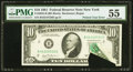 Error Notes:Printed Tears, Printed Tear Error Fr. 2025-B $10 1981 Federal Reserve Note. PMG About Uncirculated 55.. ...