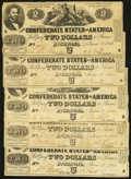 Confederate Notes:1862 Issues, T42 $2 1862 Five Examples.. ... (Total: 5 notes)