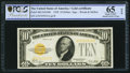 Small Size:Gold Certificates, Fr. 2400 $10 1928 Gold Certificate. PCGS Banknote Grading Gem UNC 65 OPQ.. ...