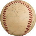 Baseball Collectibles:Balls, 1950 Baseball Greats Multi-Signed Baseball with Cobb, Speaker & Dean from Texas League Record Attendance Game.. ...