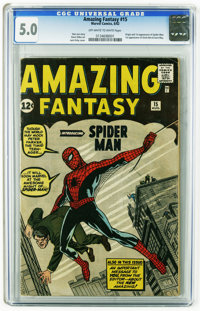 Amazing Fantasy #15 (Marvel, 1962) CGC VG/FN 5.0 Off-white to white pages. Presented in this historic Silver Age issue a...