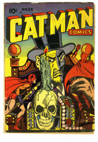 Catman Comics #28 (Holyoke Publications, 1945) Condition: GD. Appearance by Dr. Macabre. Cover and art by L. B. Cole. Ov...