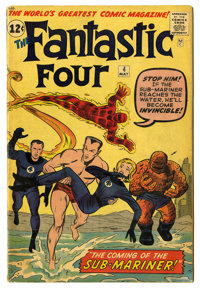 Fantastic Four #4 (Marvel, 1962) Condition: GD+. First Silver Age appearance of the Sub-Mariner. Jack Kirby cover and ar...