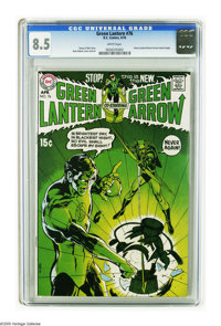 Green Lantern #76 (DC, 1970) CGC VF+ 8.5 White pages. One of the famous comics of the Bronze Age, in fact it ranks as nu...