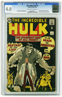 The Incredible Hulk #1 (Marvel, 1962) CGC VG 4.0 Cream to off-white pages. Momentous first issue featuring the origin an...