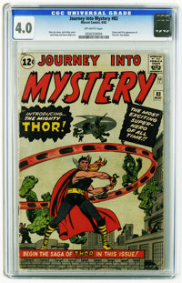 Journey Into Mystery #83 (Marvel, 1962) CGC VG 4.0 Off-white pages. One of the key books of the Silver Age (ranks ninth...