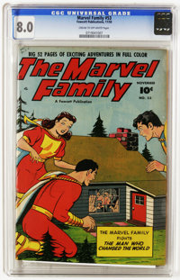 The Marvel Family #53 (Fawcett, 1950) CGC VF 8.0 Cream to off-white pages. Overstreet 2005 VF 8.0 value = $86. CGC censu...